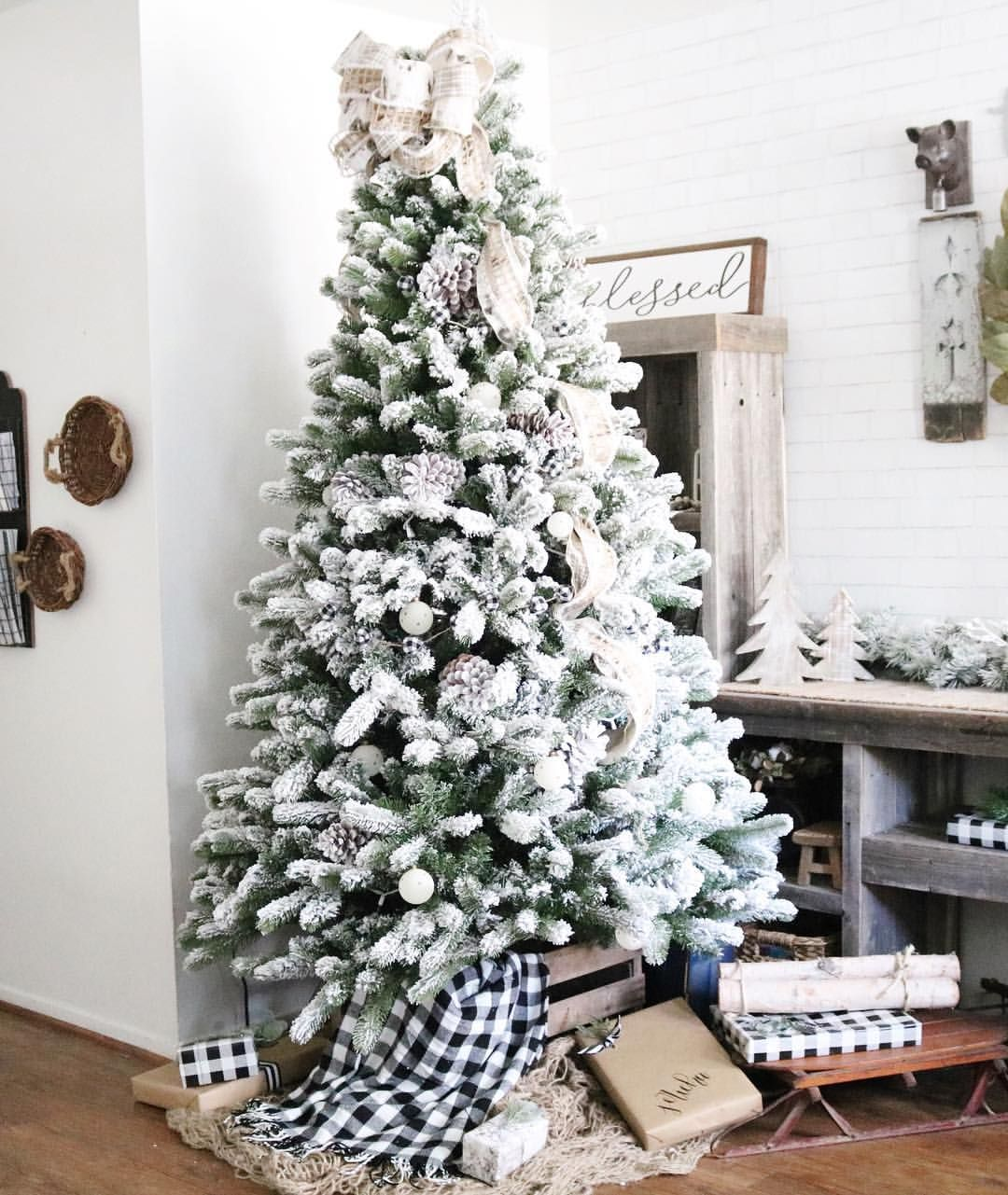 Flocked and simple neutral Farmhouse Christmas tree