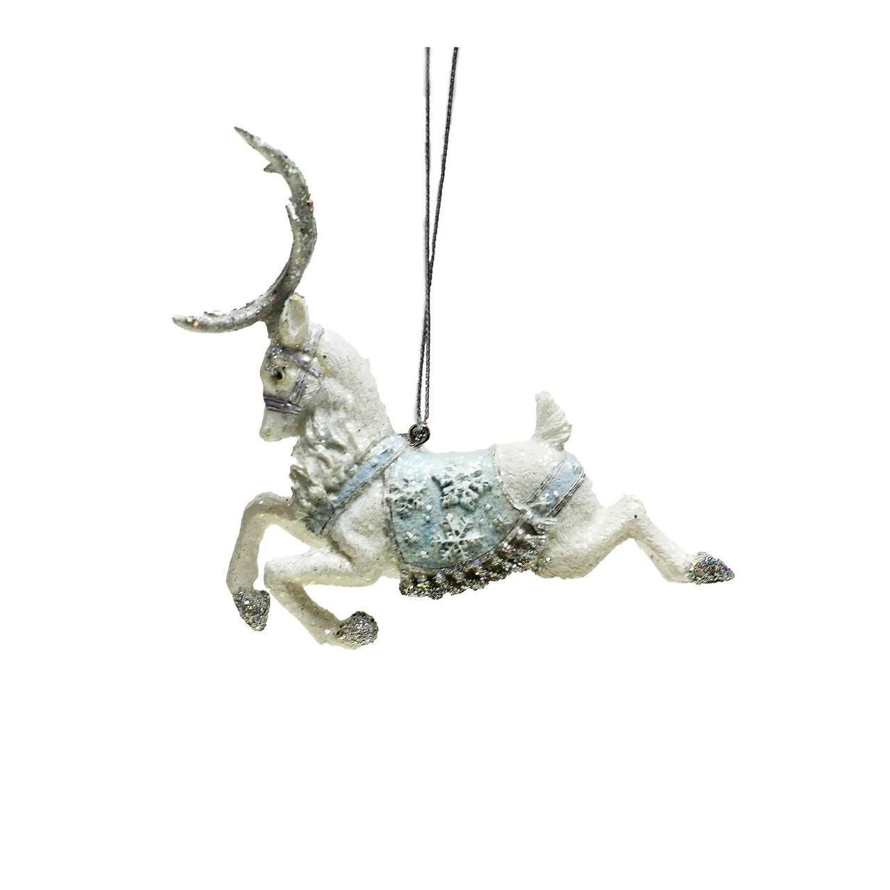 "3.75"" Ice Palace White Glitter Leaping Reindeer Christmas Ornament ..."