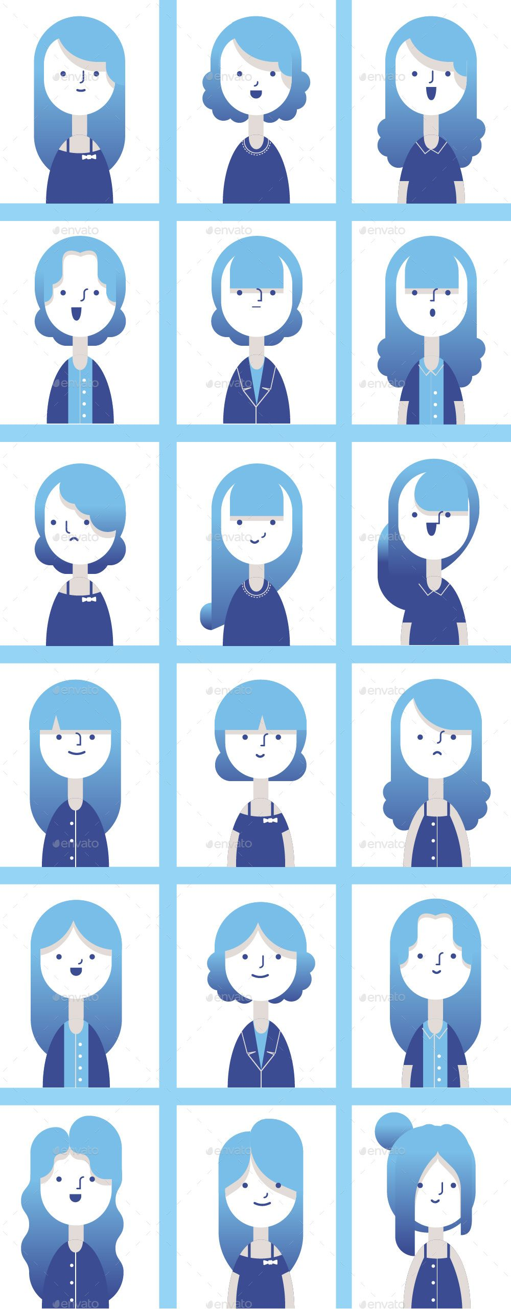 Set of Flat style female characters with gradient color and