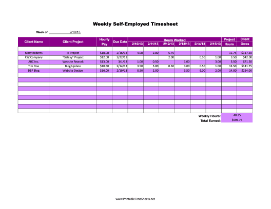 SelfEmployed Weekly Printable Time Sheets Free To Download And