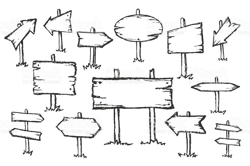 Hand Drawn Doodle Wooden Road Signs And Arrows Pointing In Different How To Draw Hands Free Hand Drawing Road Signs