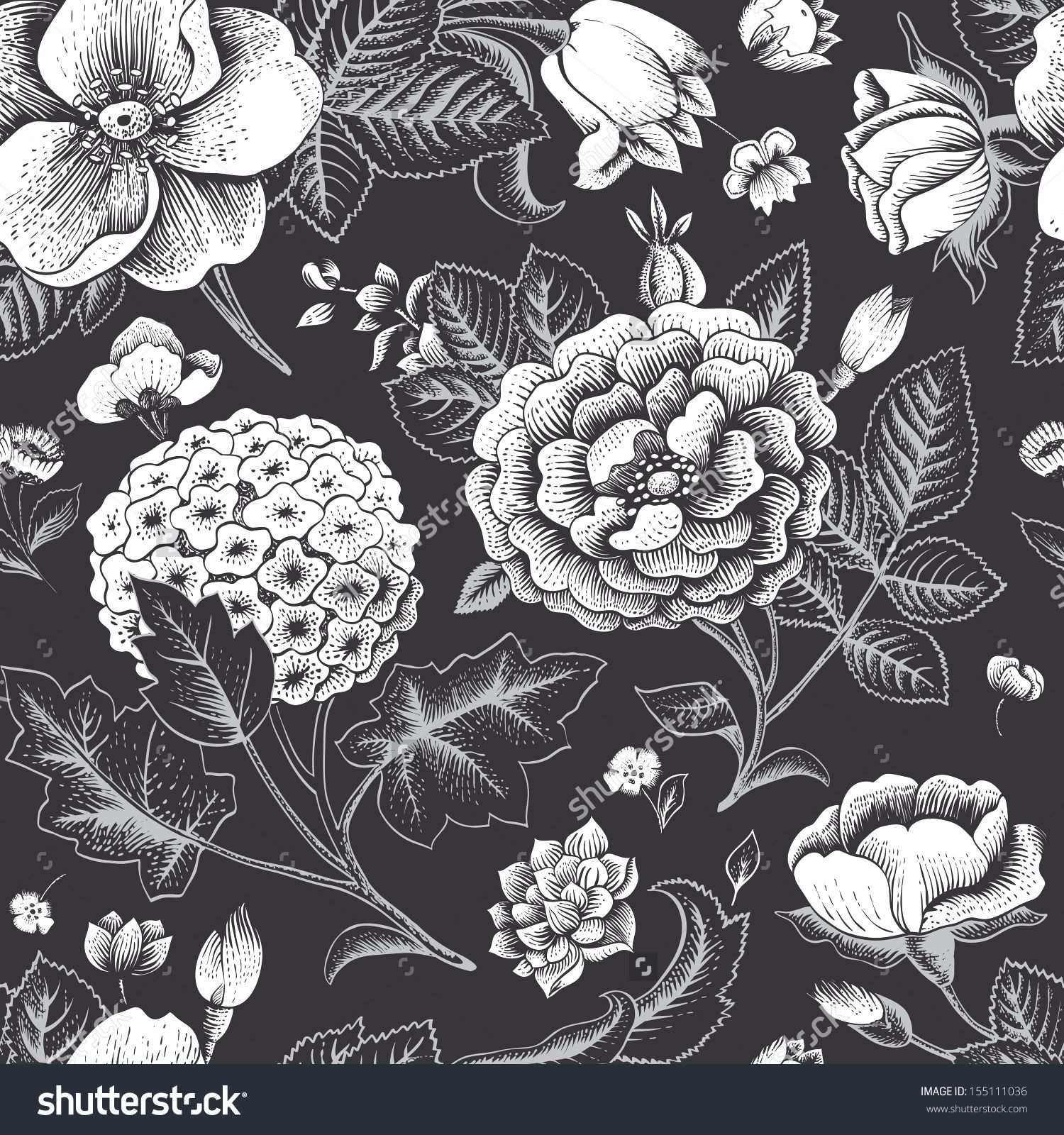 Beautiful Vintage Floral Seamless Pattern Garden Roses Hydrangea And Dog Rose Flower O Flower Illustration Black And White Illustration Black And White Roses