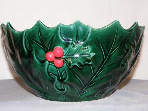 Lefton Green Holly Punch Bowl