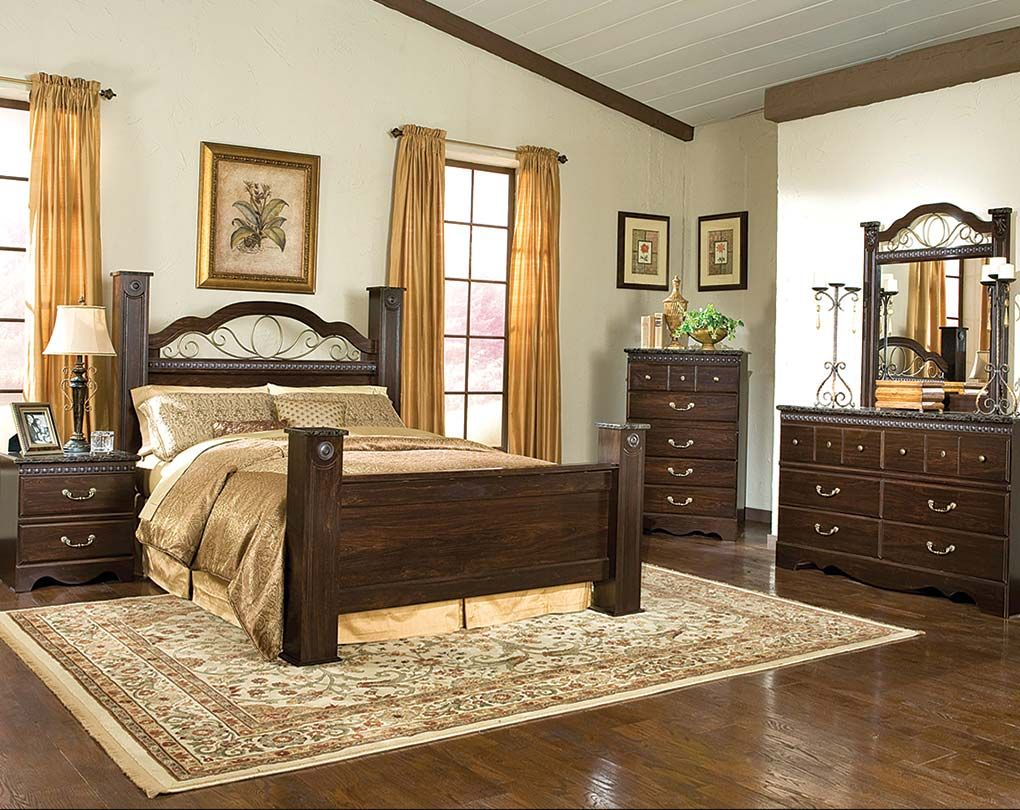 4 Poster Bed, Dark Finish, Iron Details | Sorrento Poster Bedroom ...