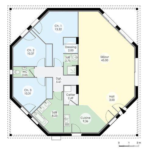Une maison octogonale originale Architecture, House and Cabin - Plan De Construction D Une Maison