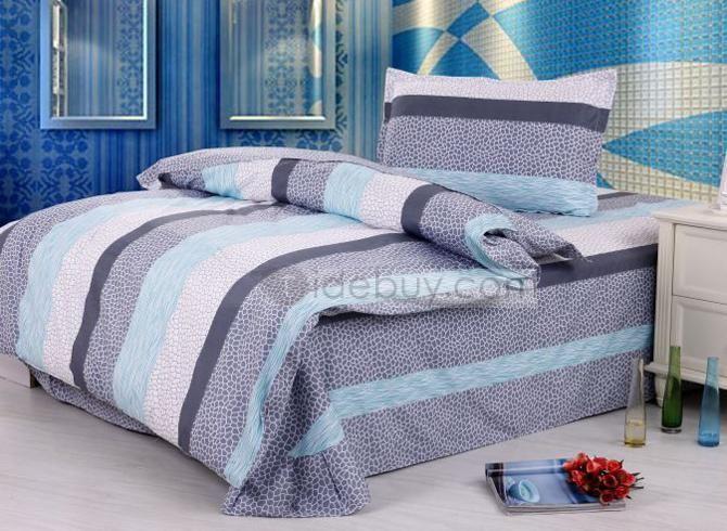 ラスチックなブルーホワイトグレーのストライププリントコットン子供寝具セット