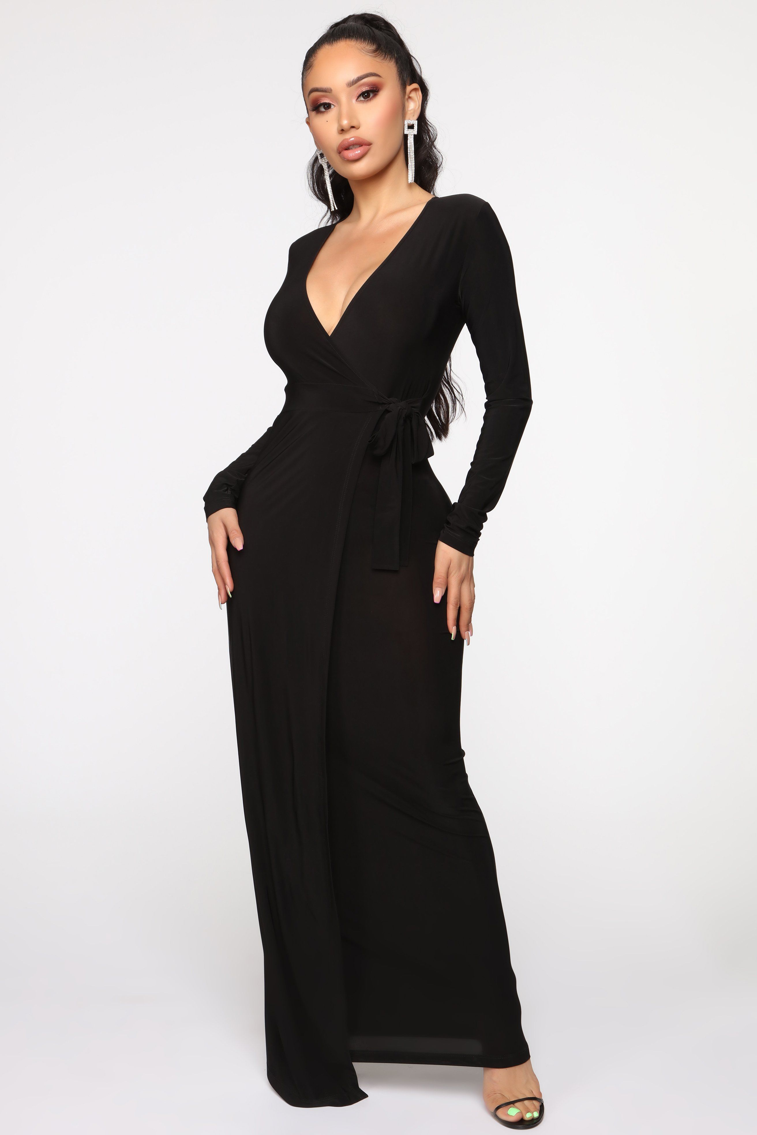 Fashion nova wrap dress ribbed maxi dress black wrap