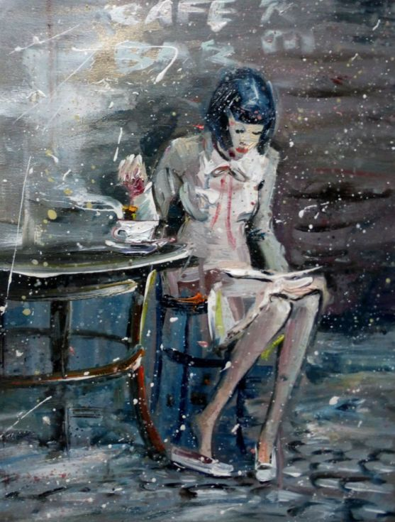 Buy Girl in a cafe with a cup of tea, oil painting 30x40 cm, ready to hang!, Oil painting by Anastasiya Kachina on Artfinder. Discover thousands of other original paintings, prints, sculptures and photography from independent artists.