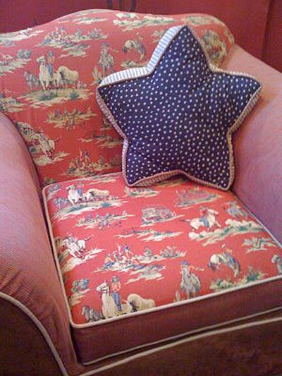 Vintage Cowboy Red Denim Fabric Used As Upholstery On Cozy Club