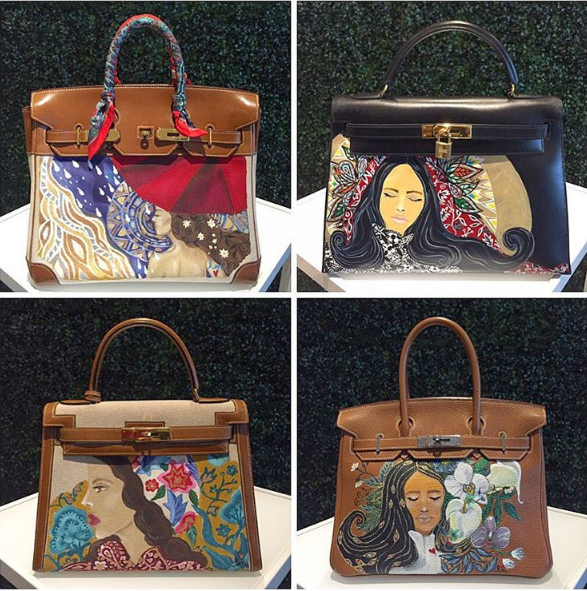 2b6a26e4fe Hand-painted Hermes bags by Heart Evangelista