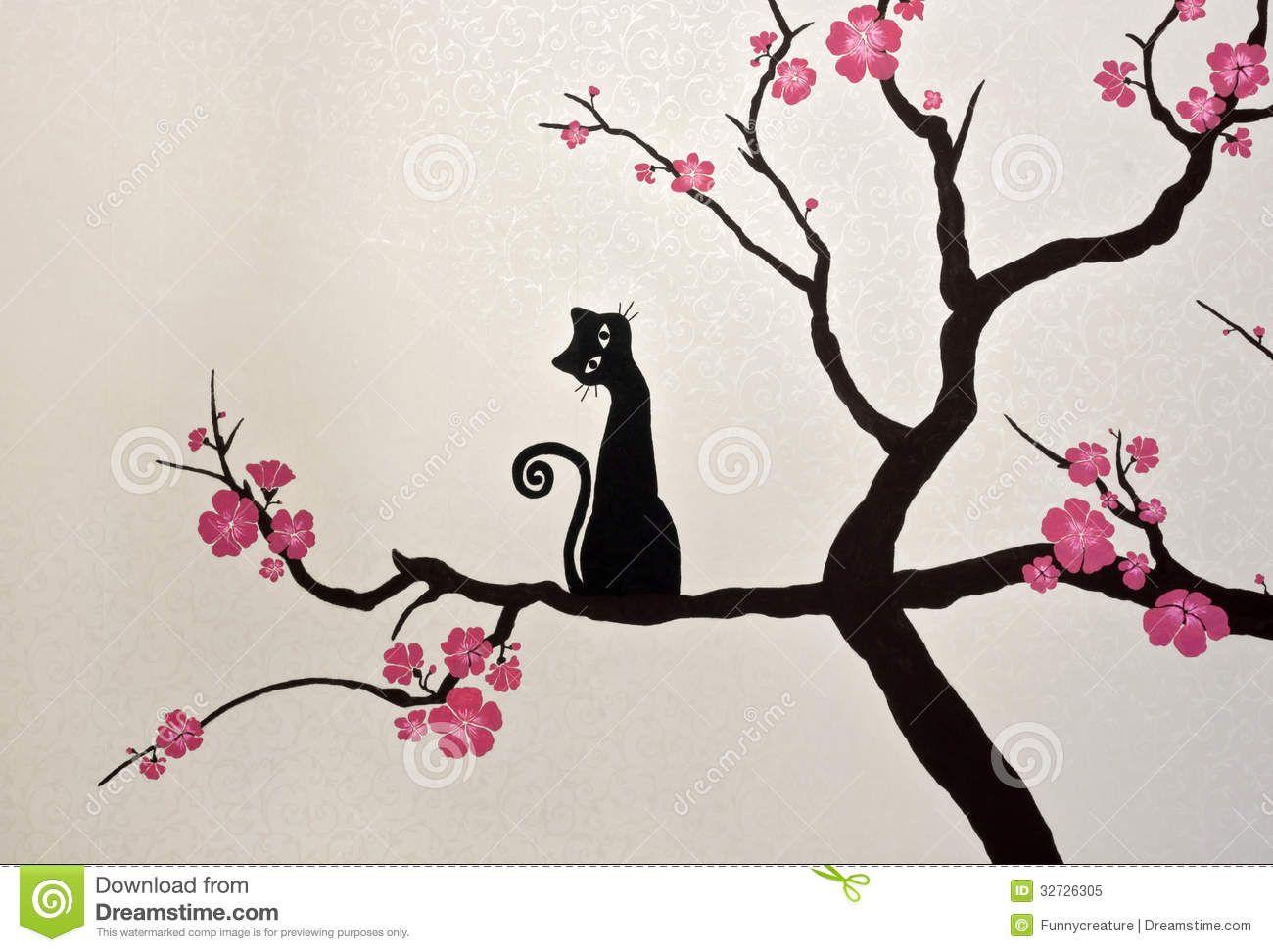 Http Thumbs Dreamstime Com Z Cat Sitting Blooming Sakura Branch Wallpaper Painting Drawing Pink Flowers P Pink Flower Painting Flower Drawing Flower Painting