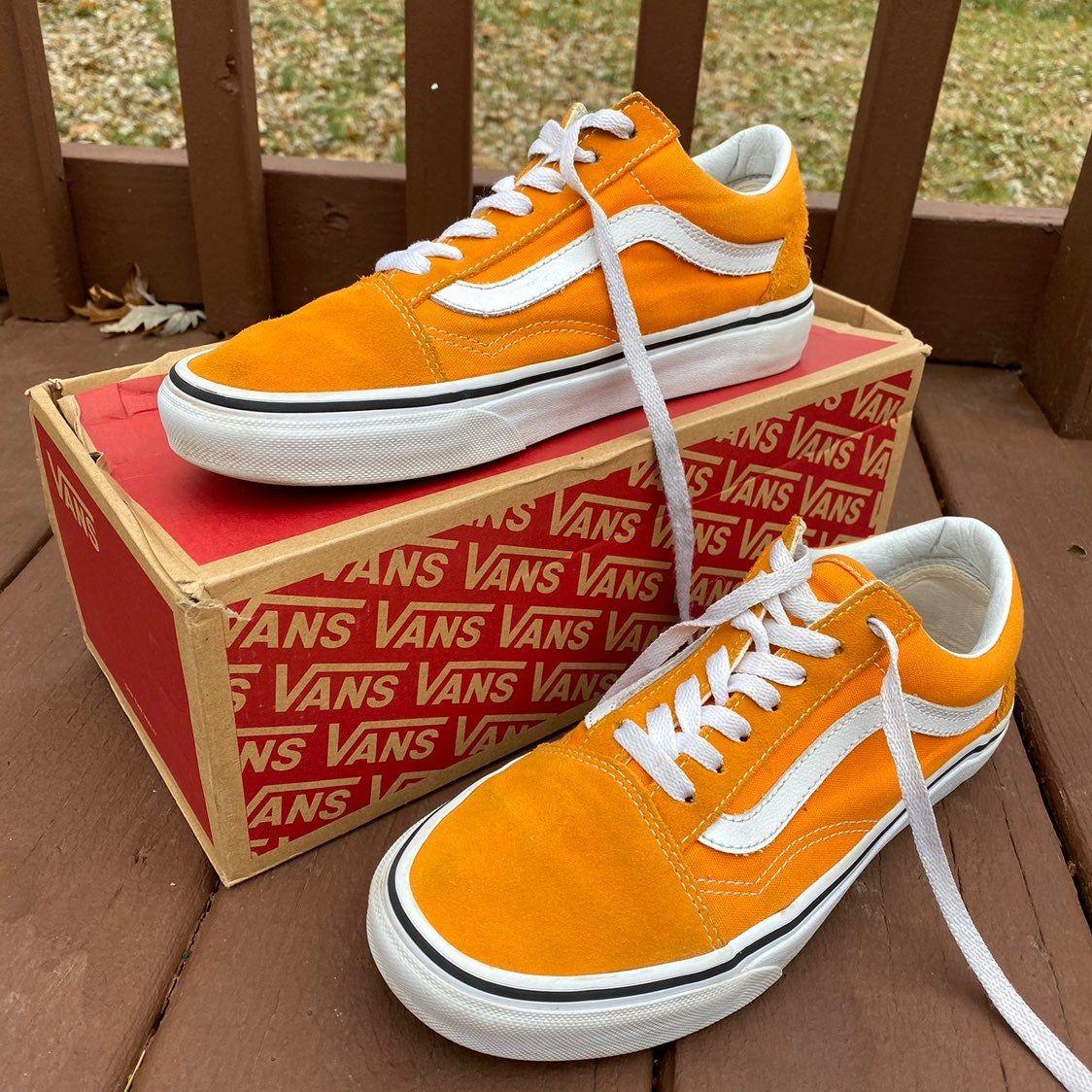 Orange suede and canvas Old Skool Vans