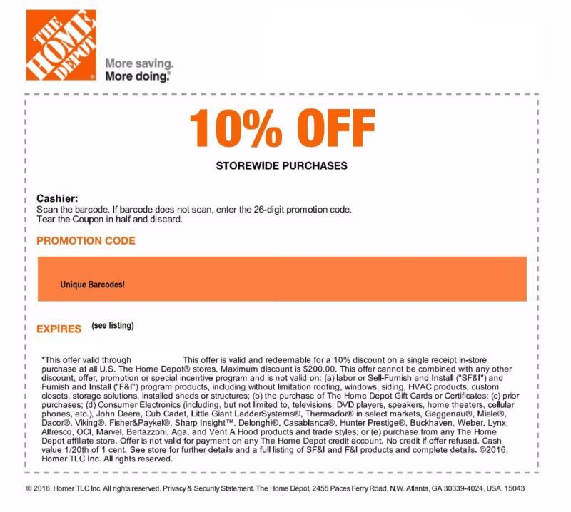 1 Real Home Depot 10 Off Coupon Expires 7 12 2016 Expires