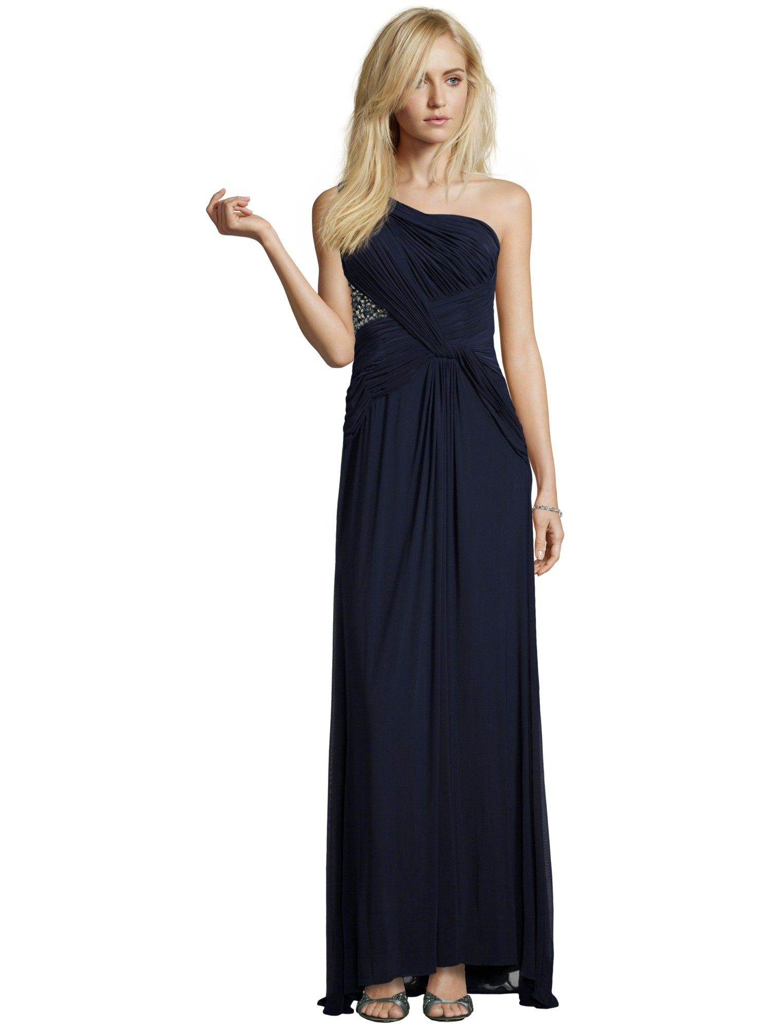 luxuar abendkleid mit one-shoulder-träger in blau / türkis