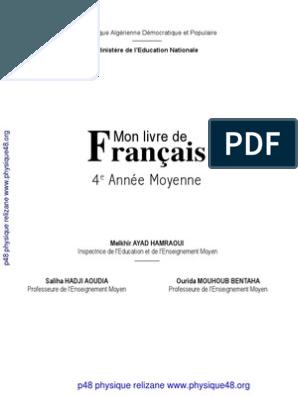 Manuel De Francais 4 Am En Version Numerique Farid