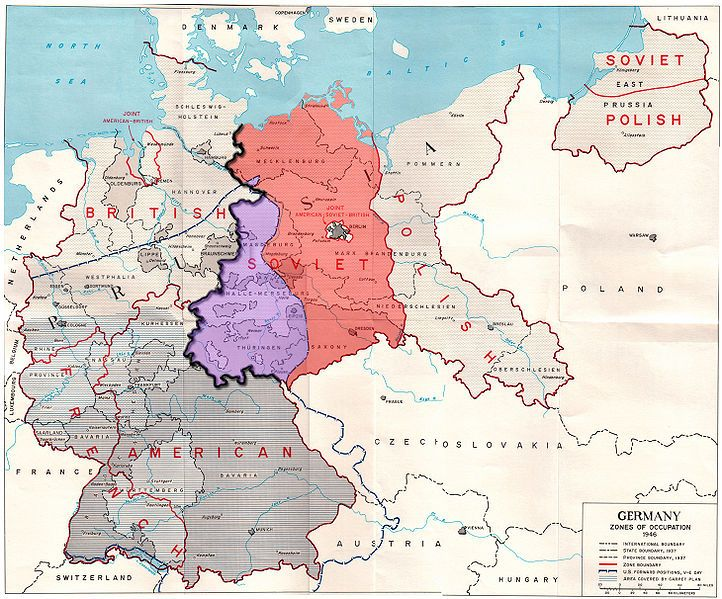 Map of the occupation zones of Germany in 1945, modified to show the ...