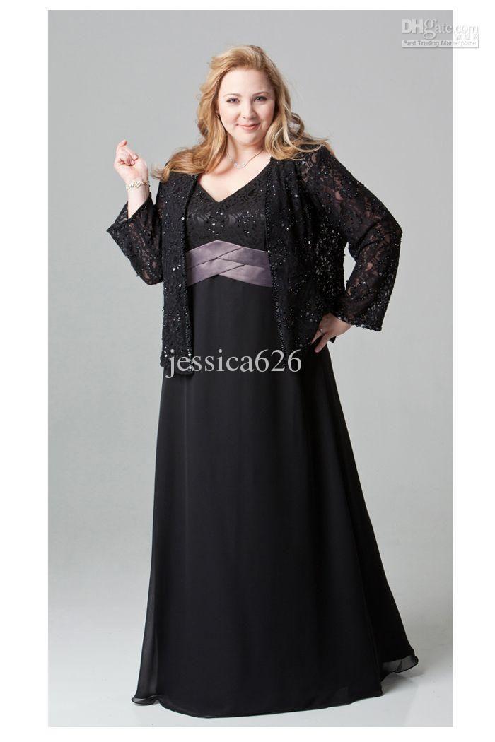 Wholesale Black Chiffon Plus Size Colum Mother Of Bride Dresses V-neck Lace  Zipper Ankle Length Formal Dress 36f4b0ba2b29