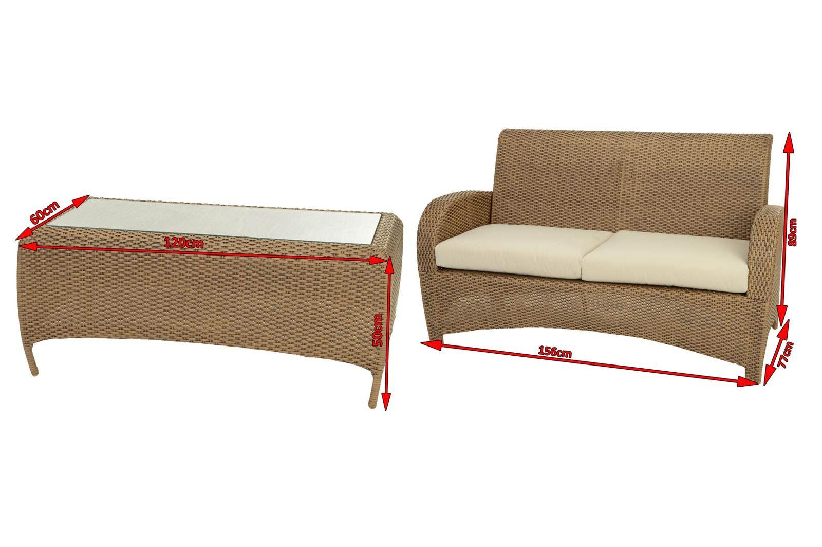 Garvida Farnese Sofa Set Natur Tisch 2er Sofa Gartenmoebel De Silah