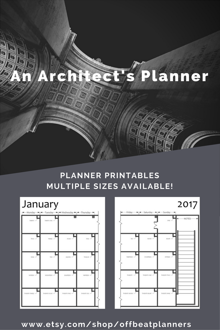 2017 planner printable planner inserts for all my archi friends