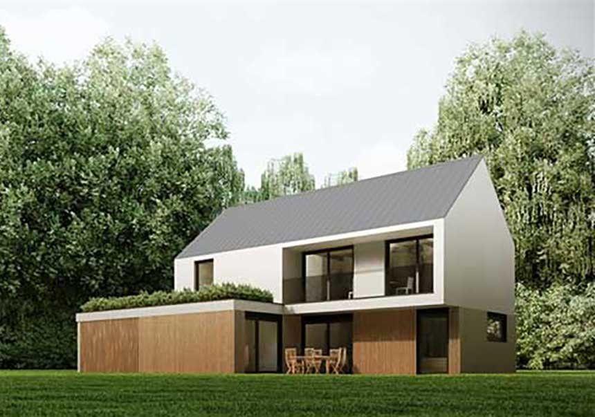 Modèle de maison en bois à étage avec un toit en pente La façade du