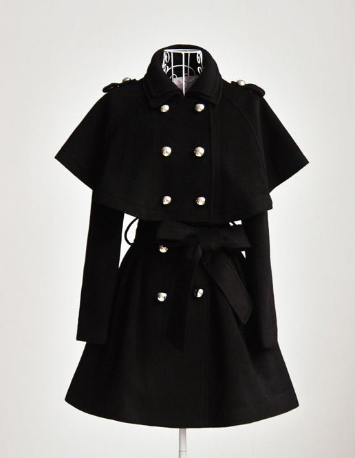1215b8fc0ac Love this black caped trench coat!