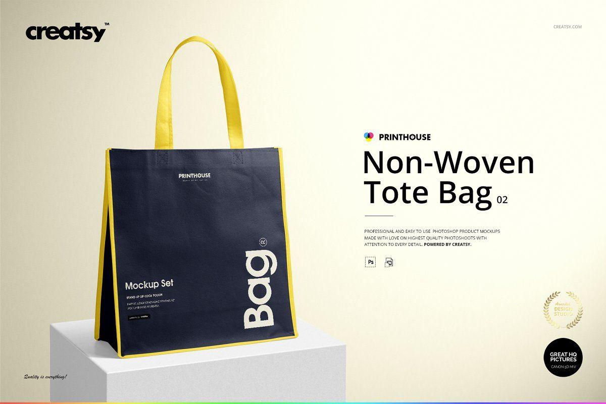 Download Non Woven Tote Bag 2 Mockup Set Woven Tote Bag Tote Bag Creative Branding