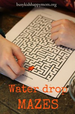 So much fun for quiet time or a rainy day. Make a Maze with One Drop of Water!