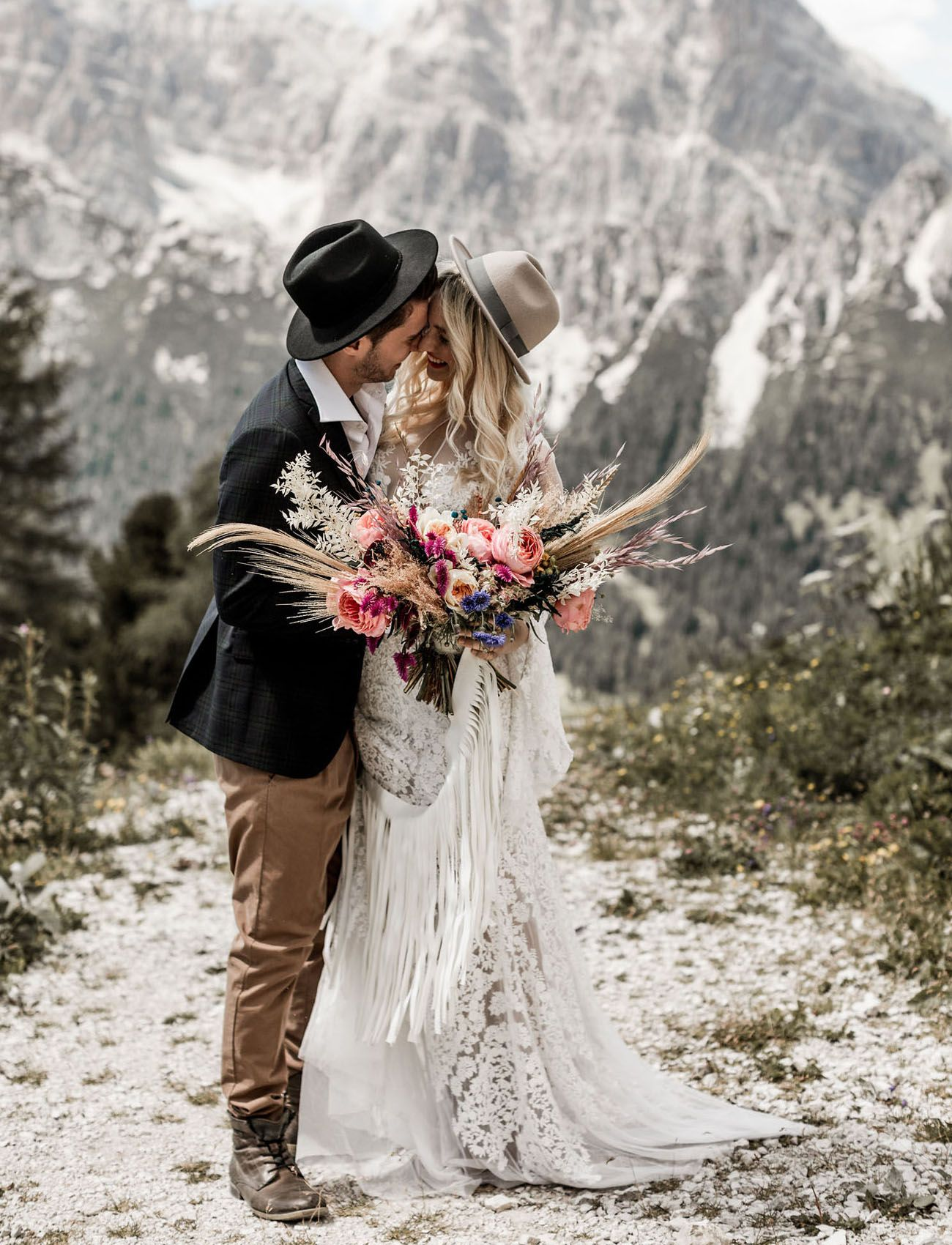 Wild free summertime elopement in the italian dolomites