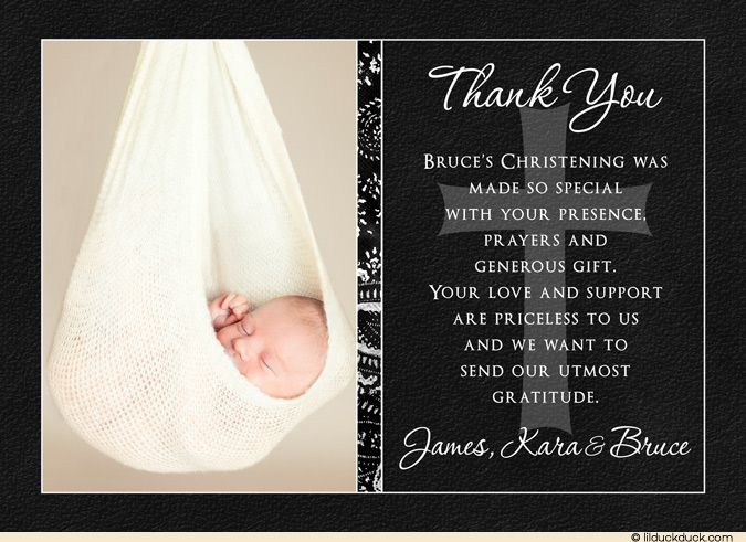 Elegant Christening Thank You Card   Best Photo black white and ...