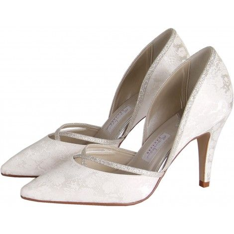Luisa by Rainbow Couture from Rainbow Club Designer Dyeable Ivory or White Floral Satin Wedding or Occasion Shoes