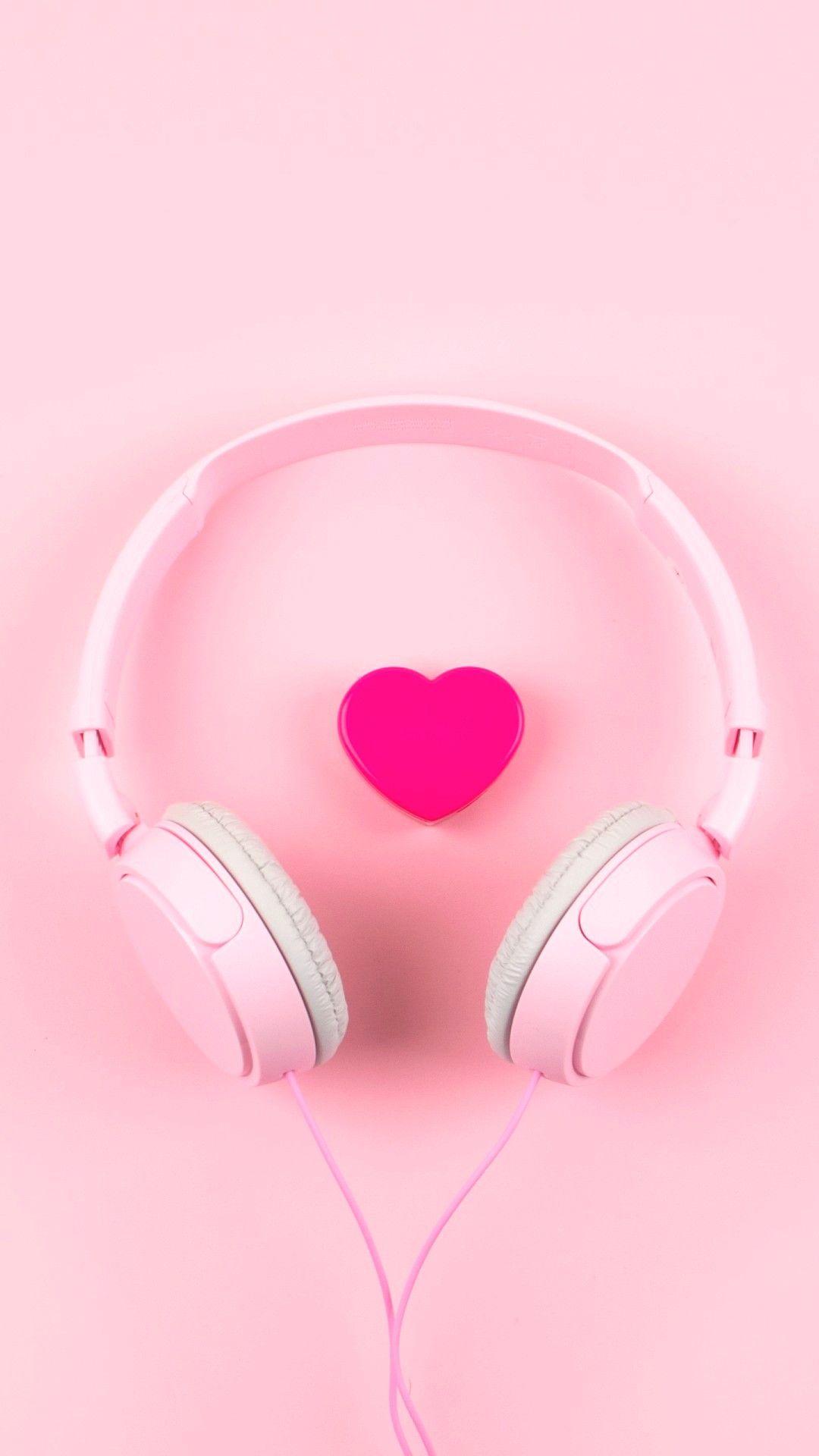 Pink Heart Headphone Hd Wallpapers 1080x1920 Iphone Wallpaper Girly Pink Wallpaper Anime Pink Wallpaper Iphone