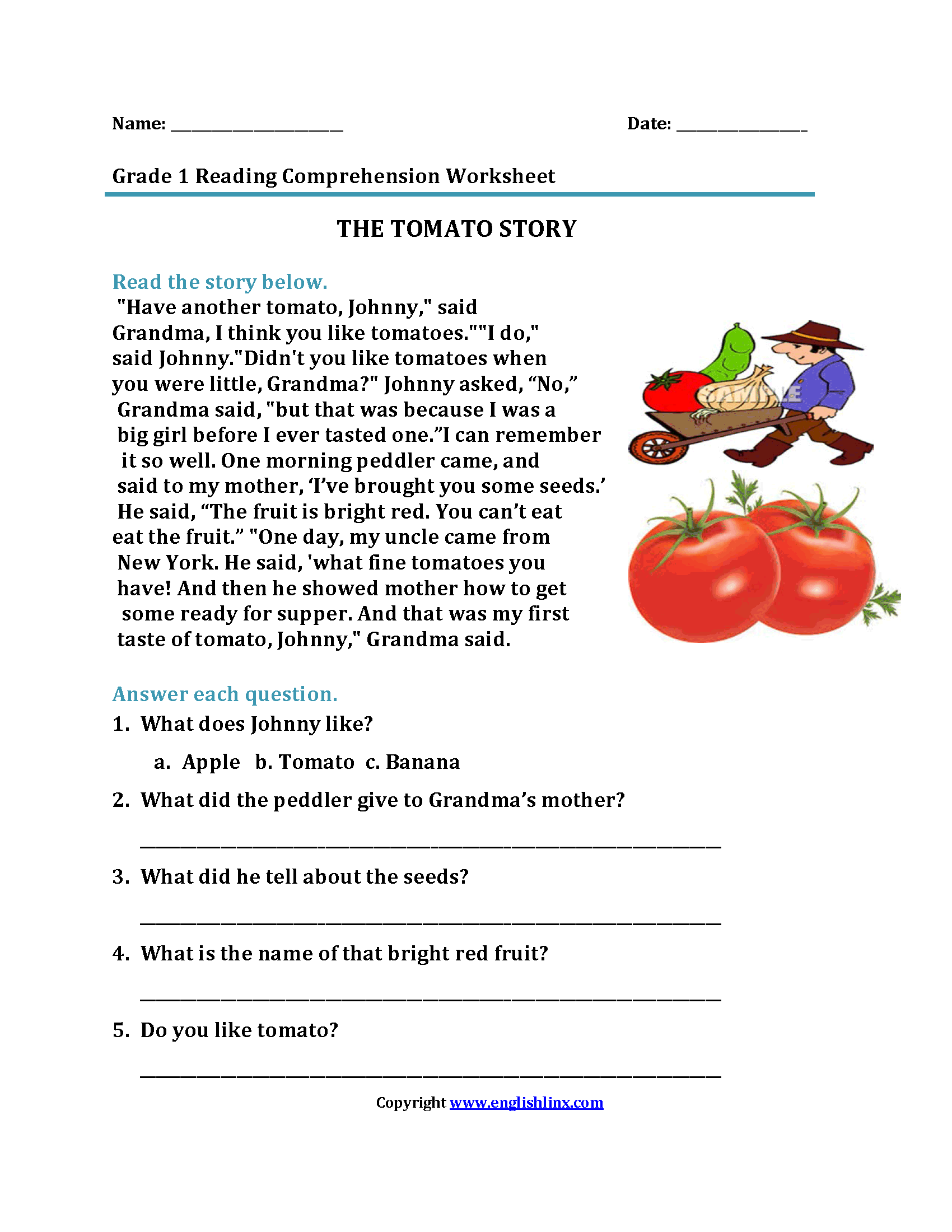 Tomato Story First Grade Reading Worksheets