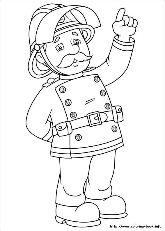 fireman sam coloring picture  bomberos  pinterest