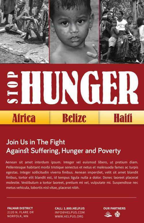 Stop Hunger Charity Brochure Template Church Print Templates