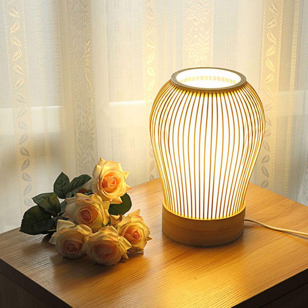 Japanische Tischlampe Oval Design Aus Bambus In 2020 Tischlampen
