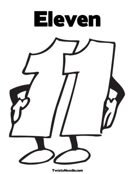 Number Eleven Coloring Page Coloring Pages Eleventh The Number 11