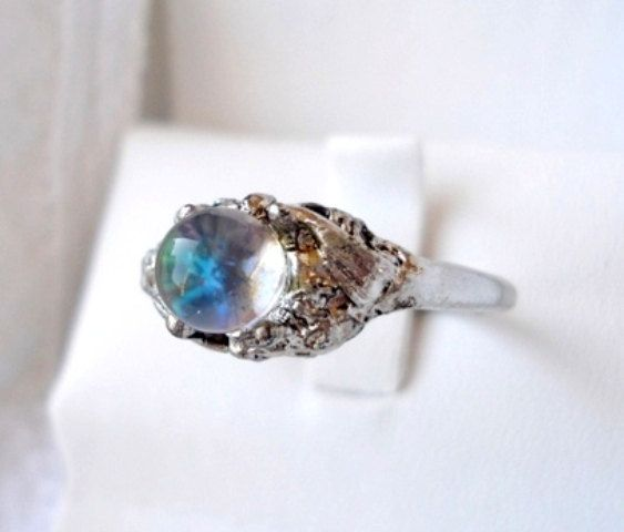 Vintage Georgian Silver Glass Crystal Ball Ring Size 7 1930