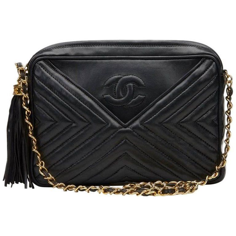 Chanel Black Chevron Quilted Lambskin Vintage Timeless Fringe Camera Bag 1980s From A Unique Collection Black Leather Handbags Leather Handbags Handbag Buy