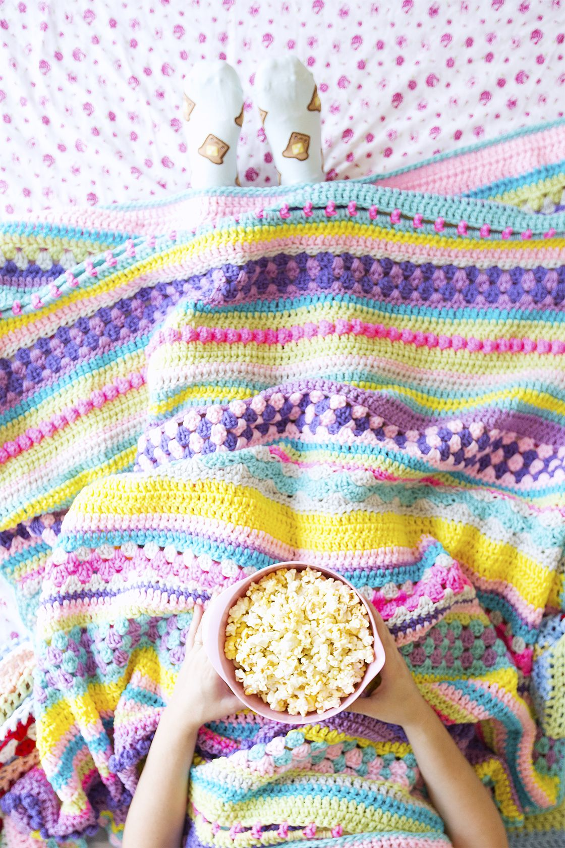 Colorful Throw Blankets Impressive Popcorn And A Movie With A Colorful Throw Blanket  #1 Crochet Design Ideas