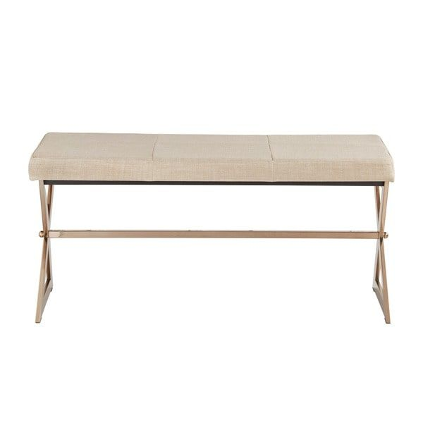 Outstanding Southport Champagne Gold Finish 40 Inch Metal Bench By Ibusinesslaw Wood Chair Design Ideas Ibusinesslaworg