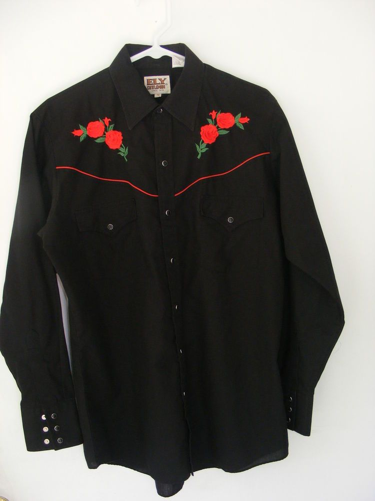 a97f2f8616 Ely Cattleman Embroidered Rose s Black Western Pearl Snap Men s Shirt  Medium  ElyCattleman  Western
