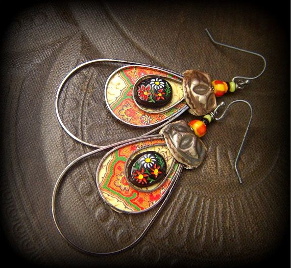 Tin Flower Frame Kuchi Beaded Earrings от YuccaBloom на Etsy