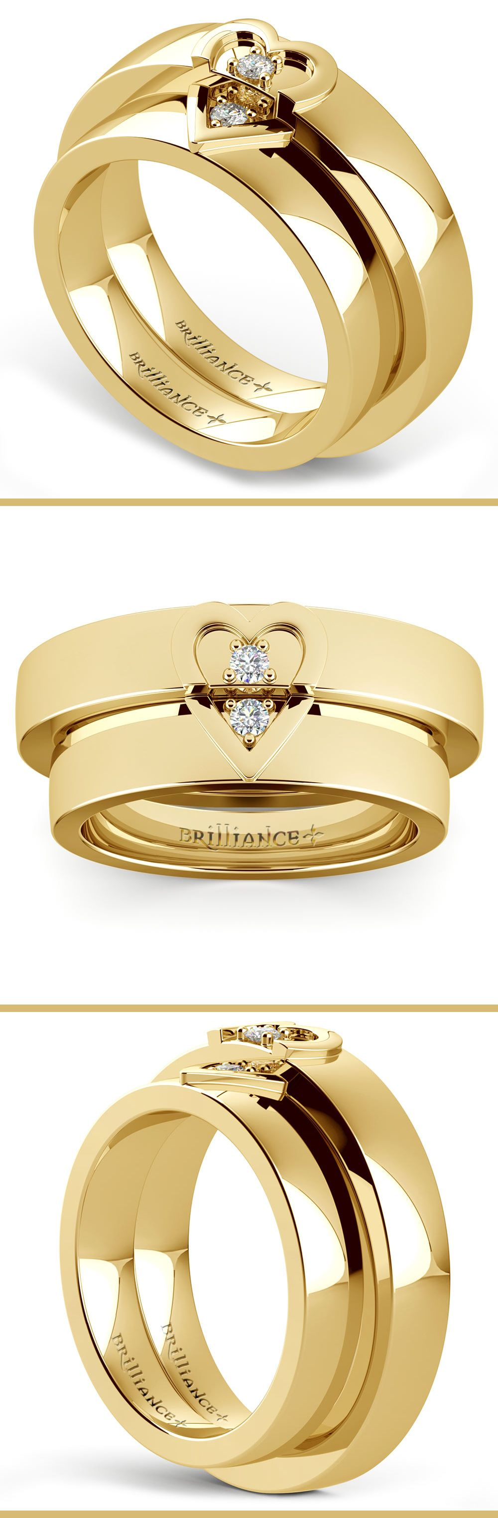 Matching his and hers 5 mm wedding bands in yellow gold feature a