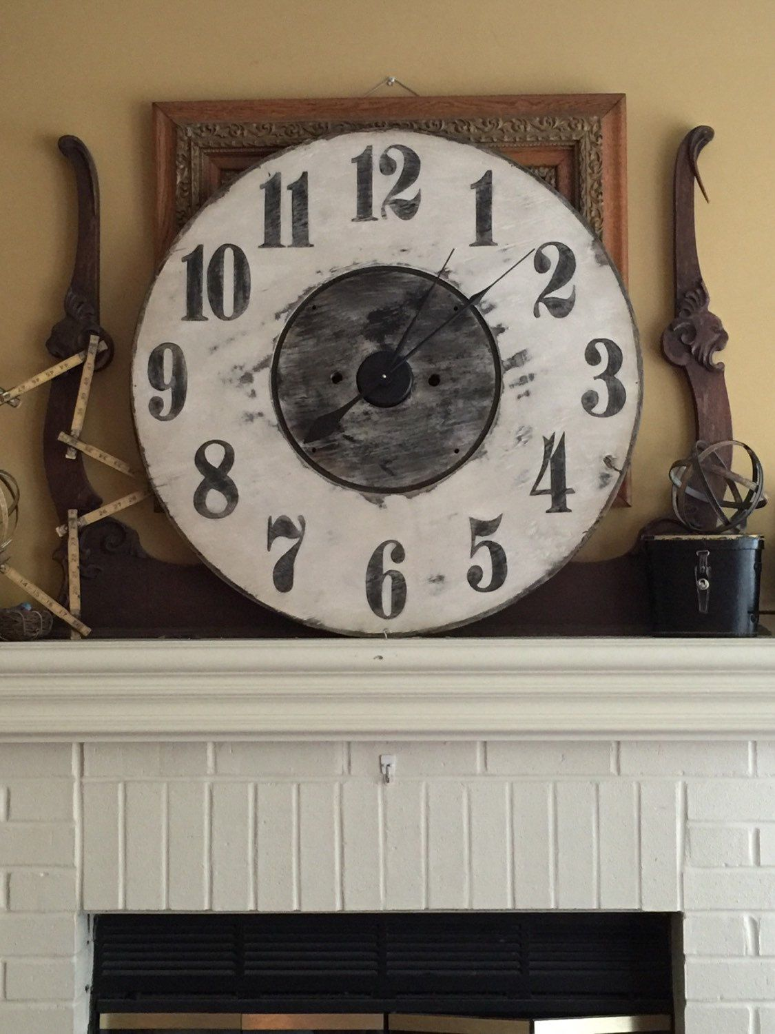 Extra Large White Rustic Wall Clock By Rescuedstyle On Etsy