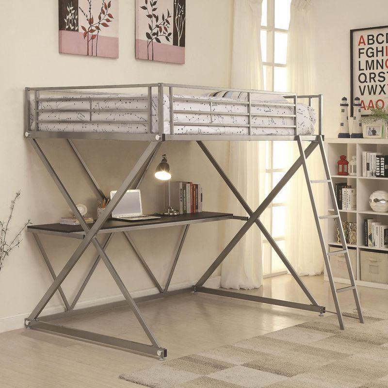 Best 400034F Full Workstation Loft Bed With Desk Furniture Near 640 x 480