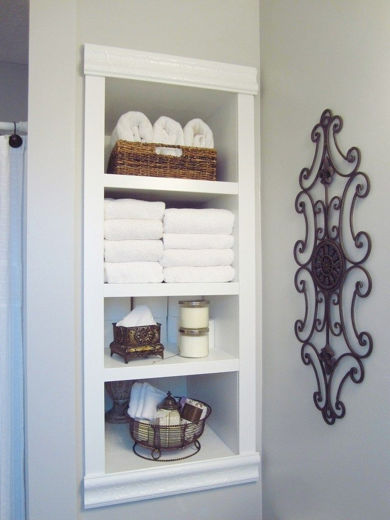 Built in bathroom wall storage - Built In Storage Between The Studs