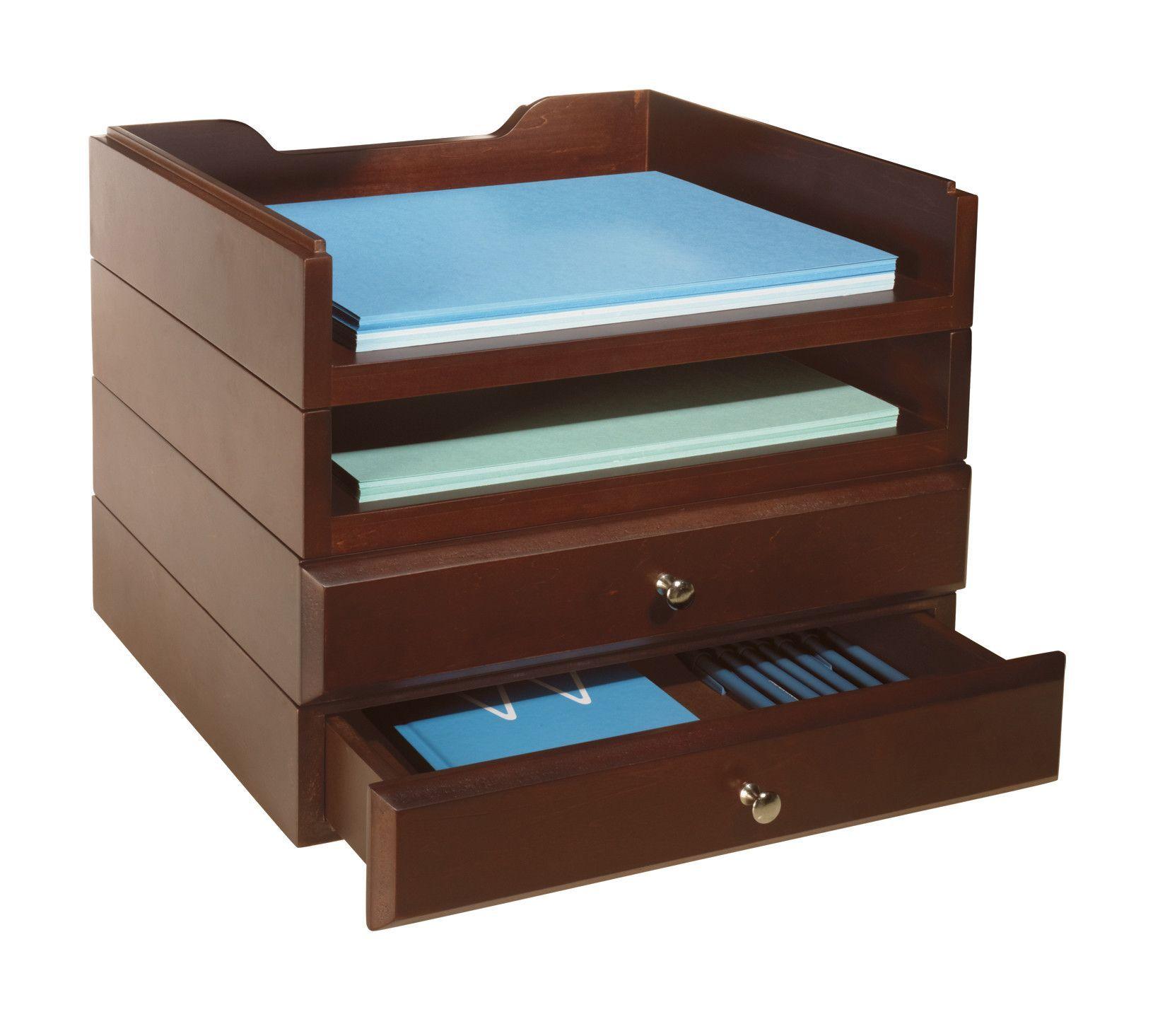 stacking wood desk organizers 2 tray u0026 2 drawer kit - Desk Organizer Tray