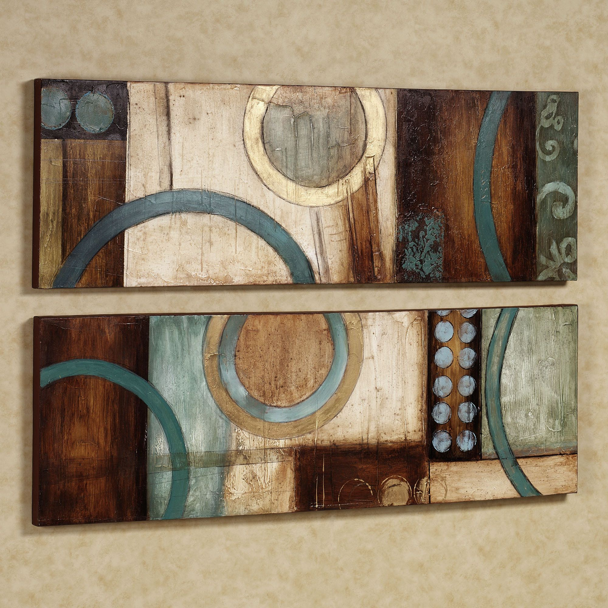 Brown Turquoise Bathroom Accessorries | Home Lavare Canvas Art Set Aqua