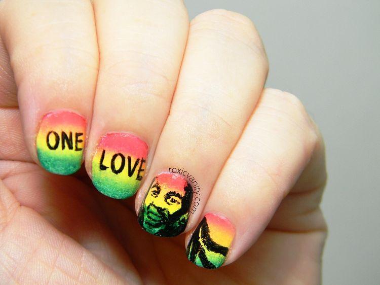 Manicura Rasta Bob Marley Nail Art Toxic Vanity My Nail Art