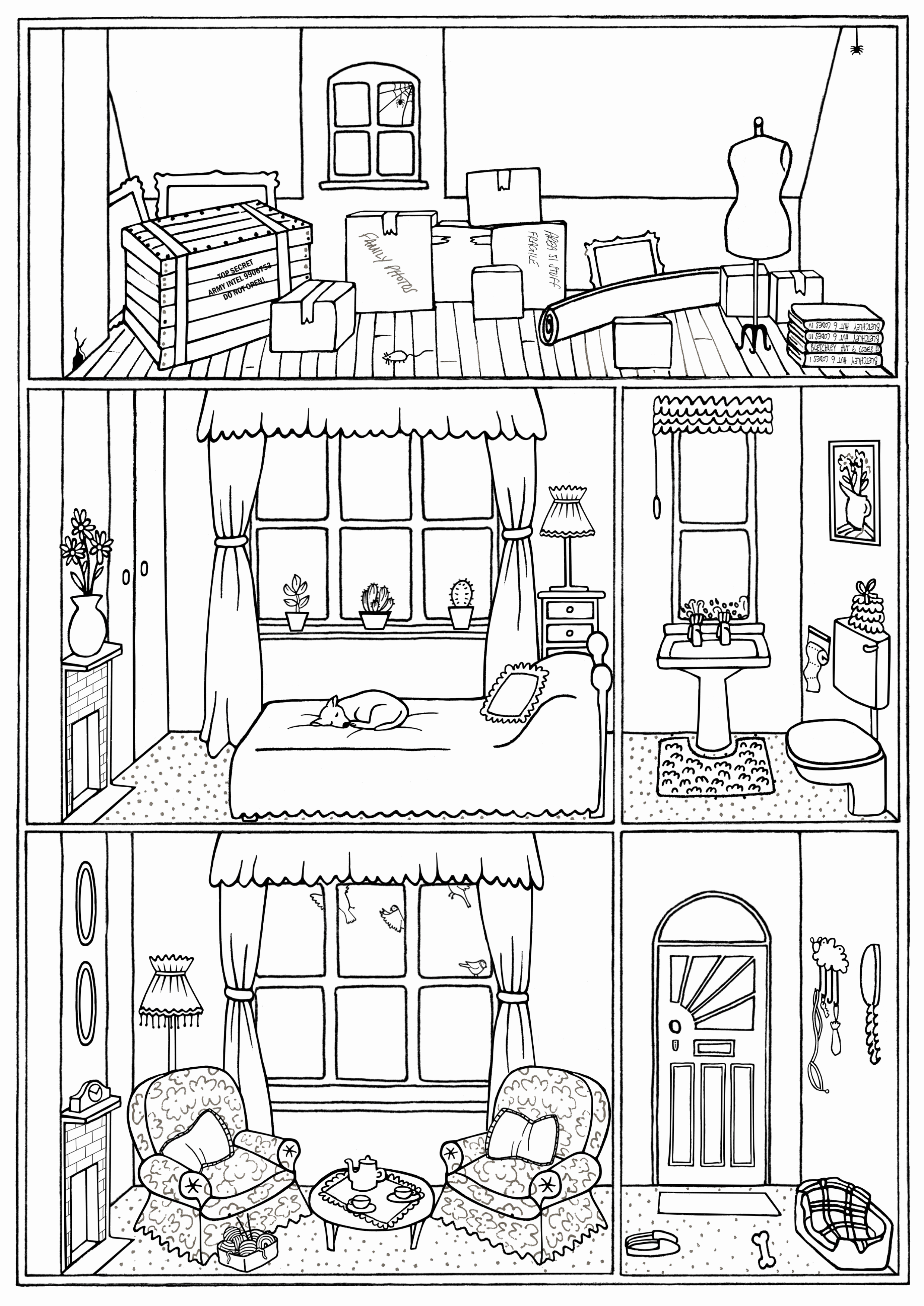 Interior House Colouring Page Printables In